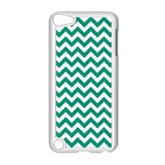 Emerald Green And White Zigzag Apple iPod Touch 5 Case (White)