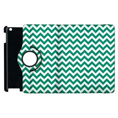 Emerald Green And White Zigzag Apple Ipad 2 Flip 360 Case