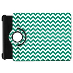 Emerald Green And White Zigzag Kindle Fire HD 7  (1st Gen) Flip 360 Case