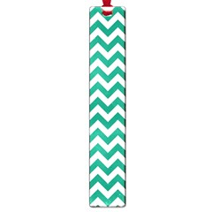 Emerald Green And White Zigzag Large Bookmark