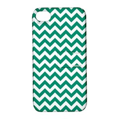 Emerald Green And White Zigzag Apple iPhone 4/4S Hardshell Case with Stand