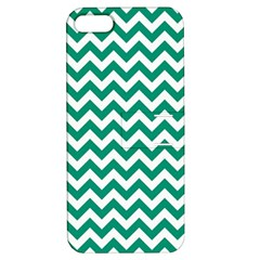 Emerald Green And White Zigzag Apple Iphone 5 Hardshell Case With Stand