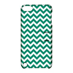 Emerald Green And White Zigzag Apple Ipod Touch 5 Hardshell Case With Stand