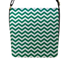 Emerald Green And White Zigzag Flap Closure Messenger Bag (large)