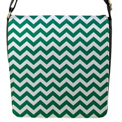 Emerald Green And White Zigzag Flap Closure Messenger Bag (Small)