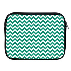 Emerald Green And White Zigzag Apple iPad Zippered Sleeve