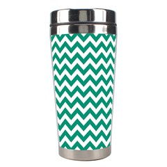 Emerald Green And White Zigzag Stainless Steel Travel Tumbler