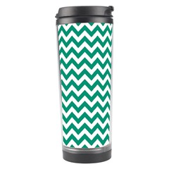 Emerald Green And White Zigzag Travel Tumbler