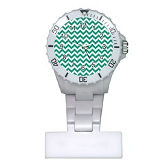 Emerald Green And White Zigzag Nurses Watch