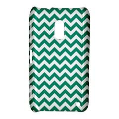 Emerald Green And White Zigzag Nokia Lumia 620 Hardshell Case