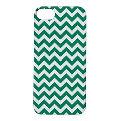 Emerald Green And White Zigzag Apple iPhone 5S Hardshell Case
