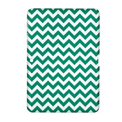 Emerald Green And White Zigzag Samsung Galaxy Tab 2 (10.1 ) P5100 Hardshell Case
