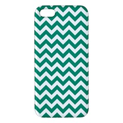 Emerald Green And White Zigzag iPhone 5S Premium Hardshell Case