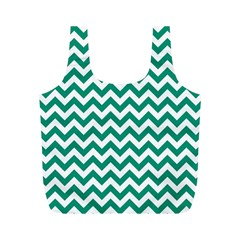 Emerald Green And White Zigzag Reusable Bag (M)