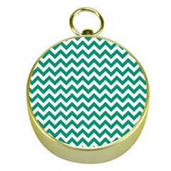 Emerald Green And White Zigzag Gold Compass
