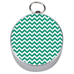Emerald Green And White Zigzag Silver Compass