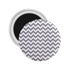 Grey And White Zigzag 2.25  Button Magnet
