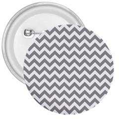 Grey And White Zigzag 3  Button