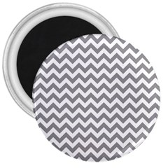Grey And White Zigzag 3  Button Magnet