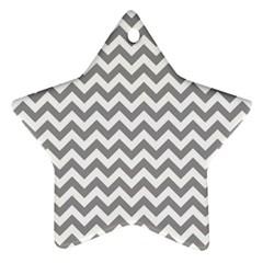 Grey And White Zigzag Star Ornament