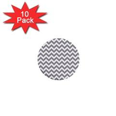 Grey And White Zigzag 1  Mini Button (10 Pack)