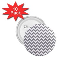 Grey And White Zigzag 1.75  Button (10 pack)