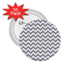 Grey And White Zigzag 2.25  Button (10 pack)
