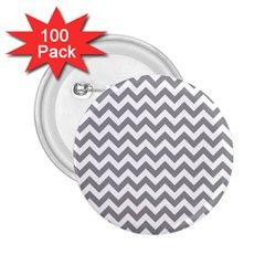 Grey And White Zigzag 2 25  Button (100 Pack)