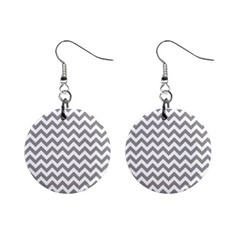 Grey And White Zigzag Mini Button Earrings