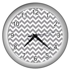 Grey And White Zigzag Wall Clock (Silver)
