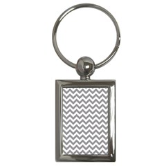 Grey And White Zigzag Key Chain (Rectangle)