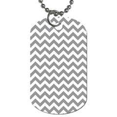 Grey And White Zigzag Dog Tag (one Sided)