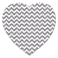 Grey And White Zigzag Jigsaw Puzzle (Heart)