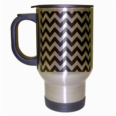 Grey And White Zigzag Travel Mug (silver Gray)