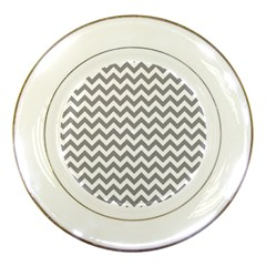 Grey And White Zigzag Porcelain Display Plate