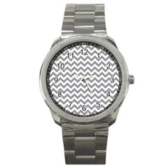 Grey And White Zigzag Sport Metal Watch