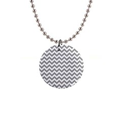 Grey And White Zigzag Button Necklace