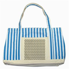 Grey And White Zigzag Blue Striped Tote Bag