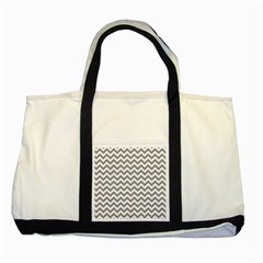 Grey And White Zigzag Two Toned Tote Bag