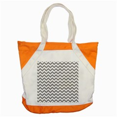 Grey And White Zigzag Accent Tote Bag