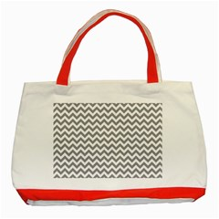Grey And White Zigzag Classic Tote Bag (Red)
