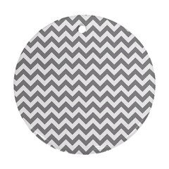 Grey And White Zigzag Round Ornament (Two Sides)