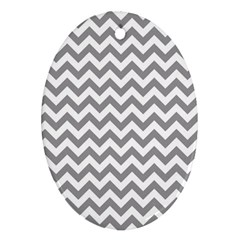 Grey And White Zigzag Oval Ornament (Two Sides)