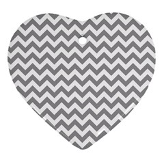 Grey And White Zigzag Heart Ornament (Two Sides)