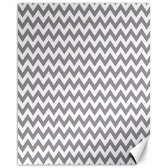 Grey And White Zigzag Canvas 16  X 20  (unframed)