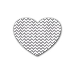 Grey And White Zigzag Drink Coasters (heart)
