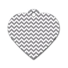 Grey And White Zigzag Dog Tag Heart (One Sided)
