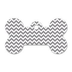 Grey And White Zigzag Dog Tag Bone (Two Sided)