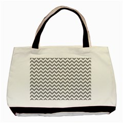 Grey And White Zigzag Twin-sided Black Tote Bag