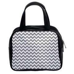 Grey And White Zigzag Classic Handbag (two Sides)